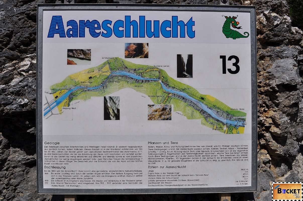 Aareschlucht - canionul ( copiii pot descoperii povestea dragonului si a celor cinci copii ai lui)