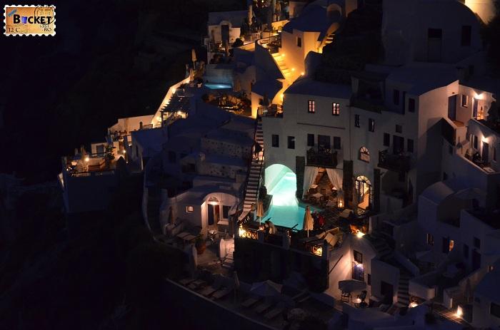 Hotel Fanari Villas Oia Santorini noaptea