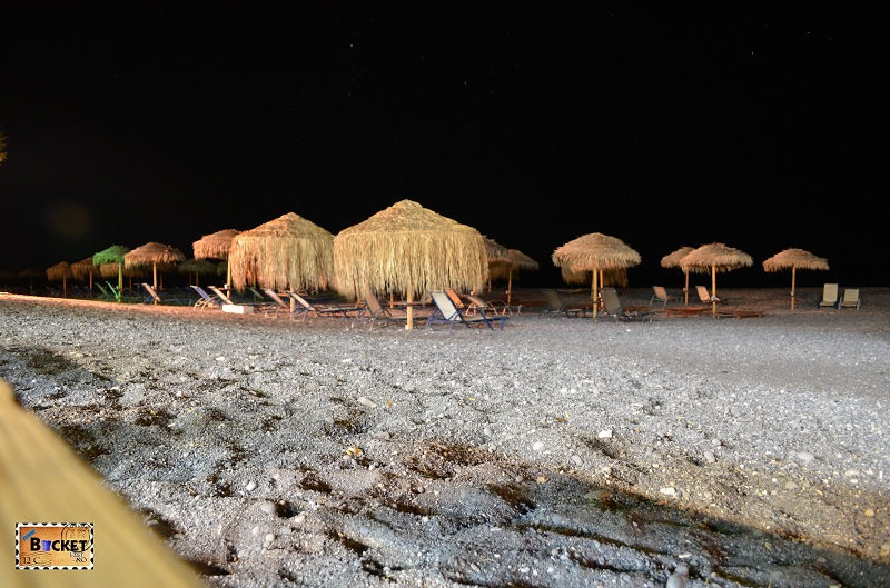 Kamari beach by night