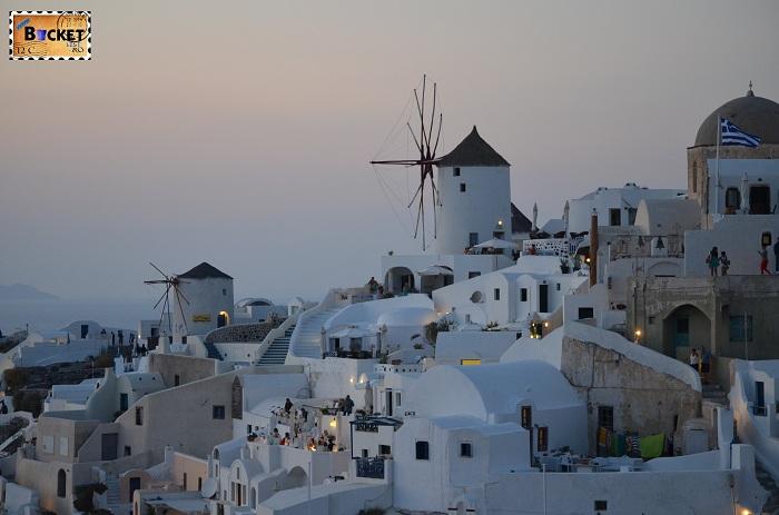 Morile de vânt cicladice , Oia Santorini