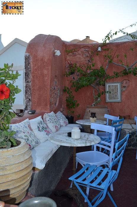 Santorini -  Terasa cafenea
