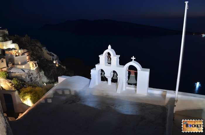 Oia Santorini church by night