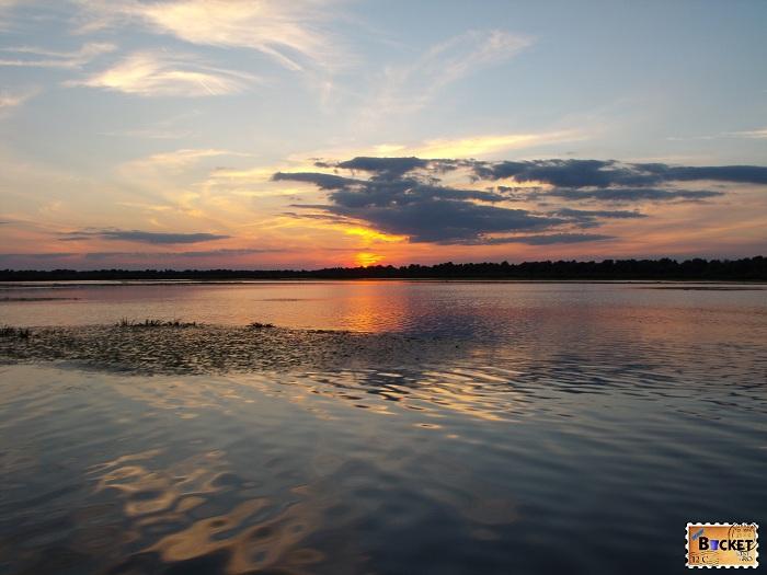 Delta Dunării apus de soare
