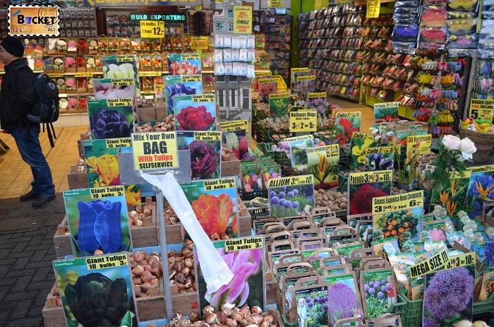 Bloemenmarkt, bulbi in piaţa de flori din Amsterdam