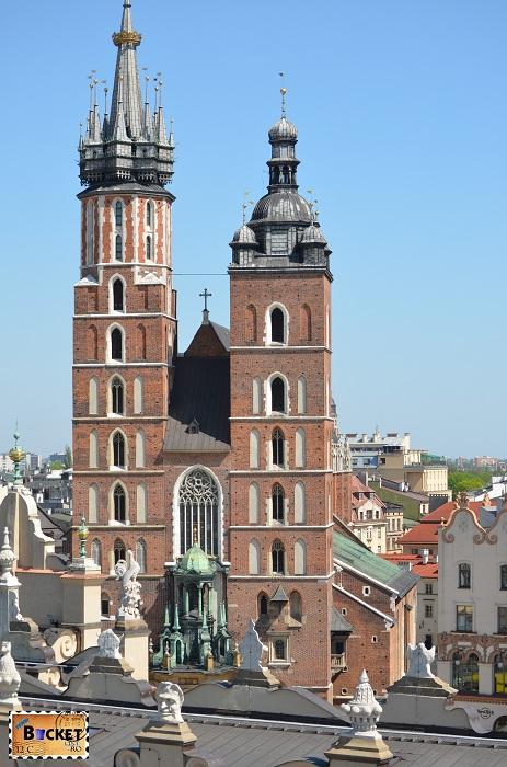 Bazilica Sf. Maria din Cracovia - fotografie din turnul primariei