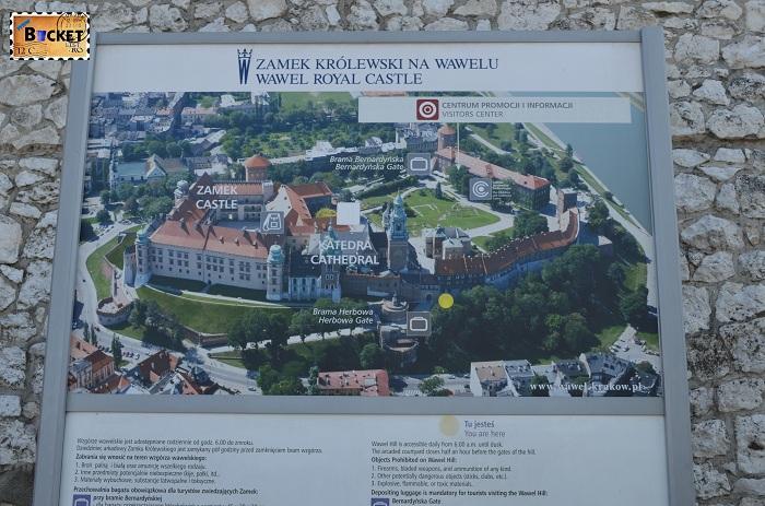 Castelul Wawel Cracovia -  harta la intrare