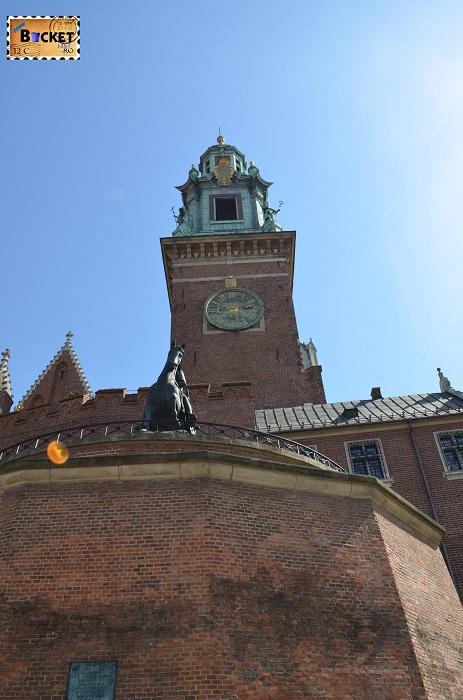 Castelul Wawel Cracovia -  turnul cu ceas si Tadeusz Kościuszko