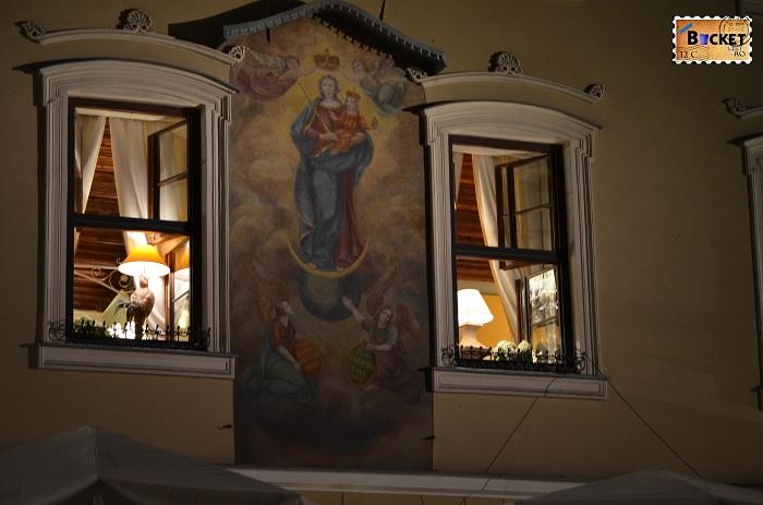 Cracovia - peisaje de noapte - Rynek Główny - Obraz Matki Boskiej