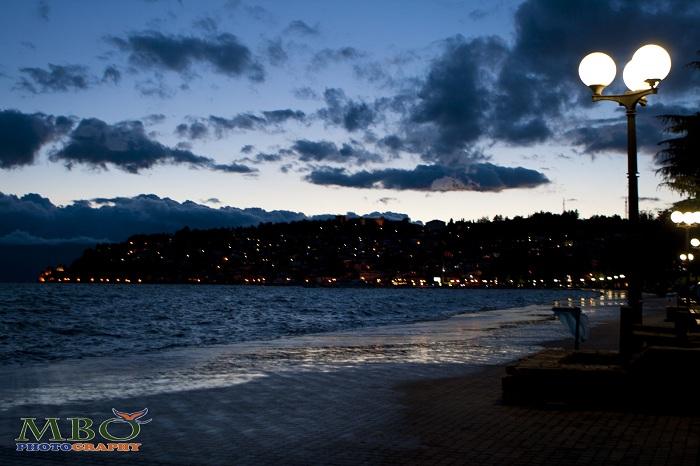 Lacul Ohrid din Macedonia, peisaj de seara