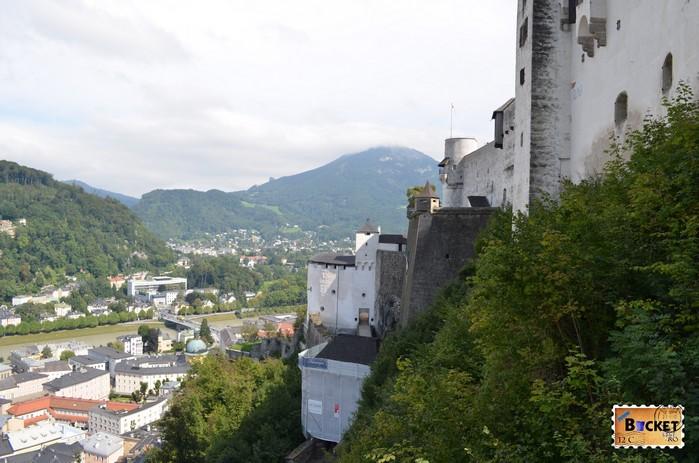 râul Salzach si Castelul din Salzburg