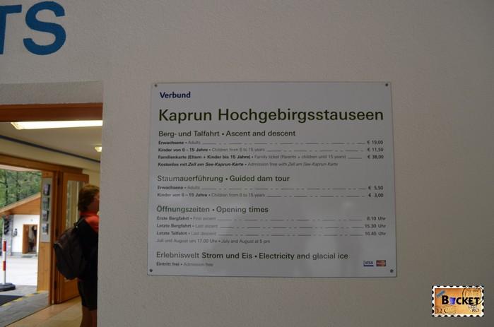 pret excursie spre barajele de la Kaprun - ticket price to Alpine Reservoirs in Kaprun