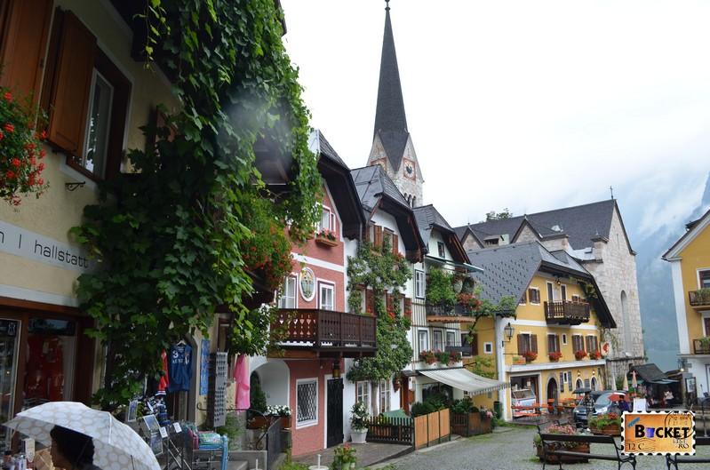 Hallstatt - Marktplatz si biserica evanghelica - Evangelische Kirche Hallstatt