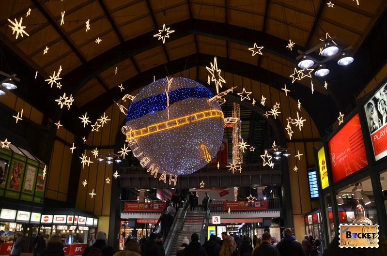 gara din  Hamburg amenajata de Craciun